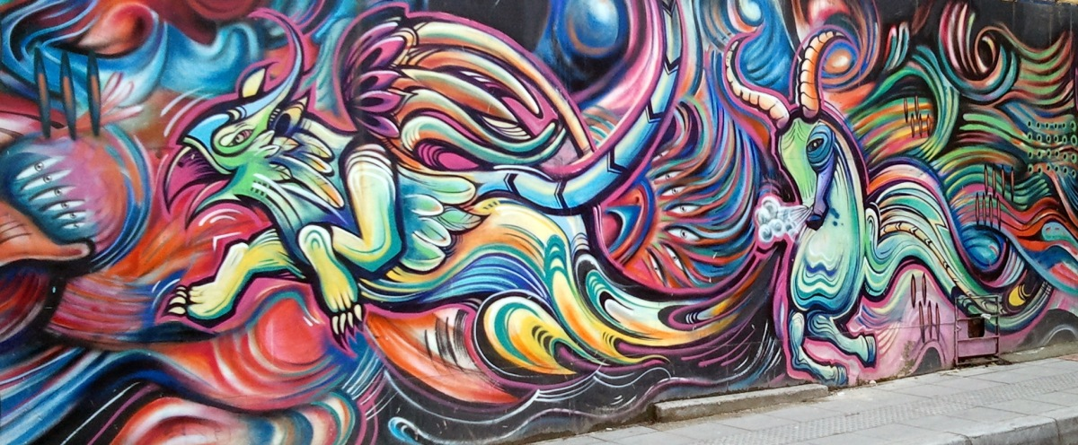 A colorful mural in Bogota