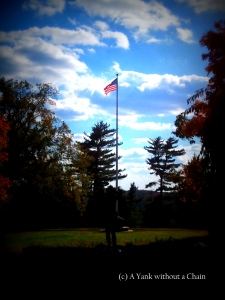 An American flag the Kykuit Estate