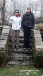 Erica and Emily on the steps of the sunken garden at Weir Farm