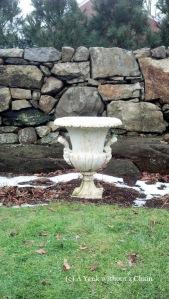 A flower pot in the sunken garden at Weir Farm