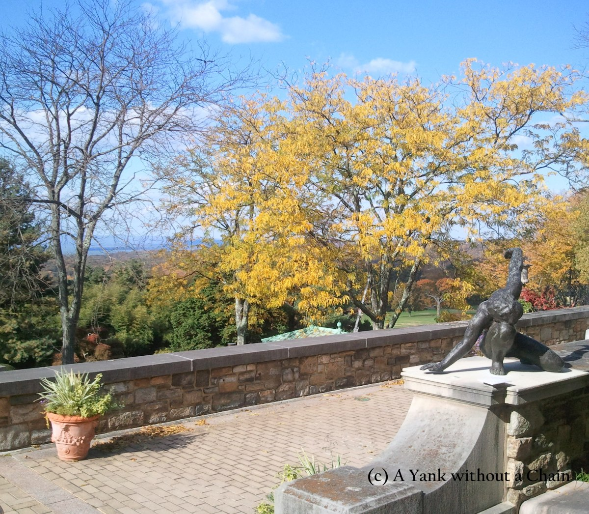 A terrace overlooking the Hudson River at the Kykuit Estate