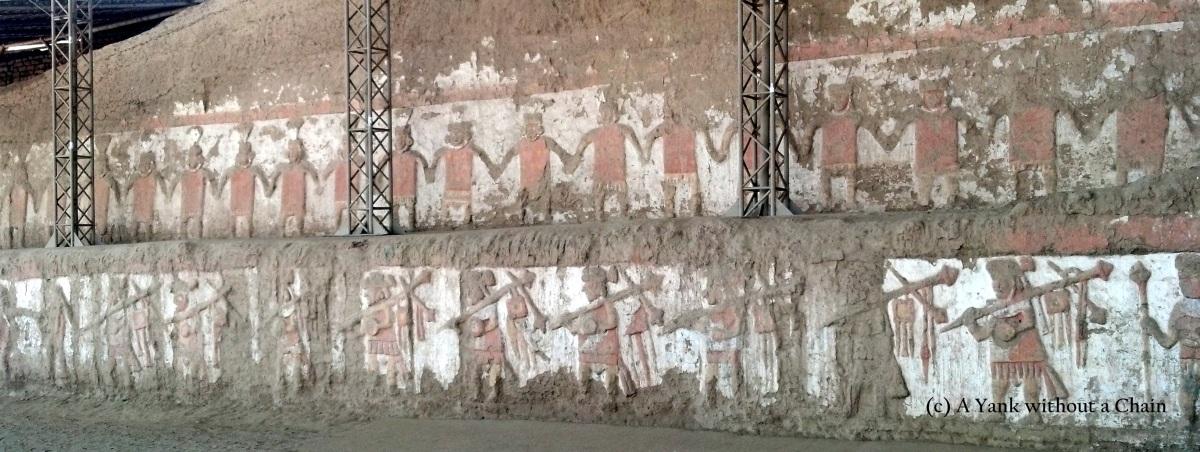 Main mural at Huaca de la Luna depicting warrior sacrifices