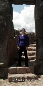 The Yank without a Chain in a doorway at Sacsayhuaman, an Incan fort that overlooks Cusco