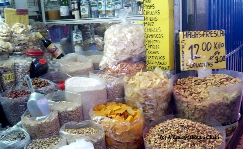 A selection of chips and beans at the San Camilo Market
