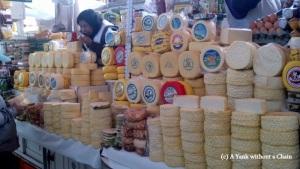 A selection of Peruvian cheeses on display at the San Camilo Market
