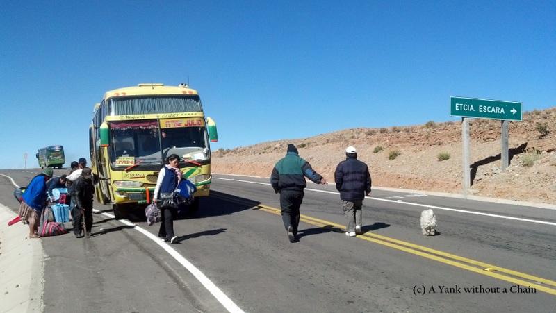 Getting off the bus a few kilometers outside Uyuni