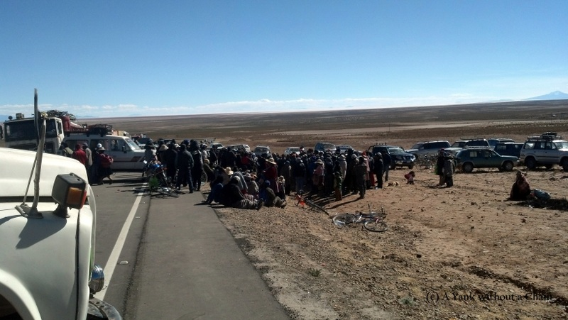 Protesters outside Uyuni demanding a new bus terminal