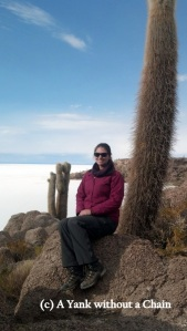 Sitting by a 1,000 year old cactus on the Isla del Pescado in the Salar de Uyuni