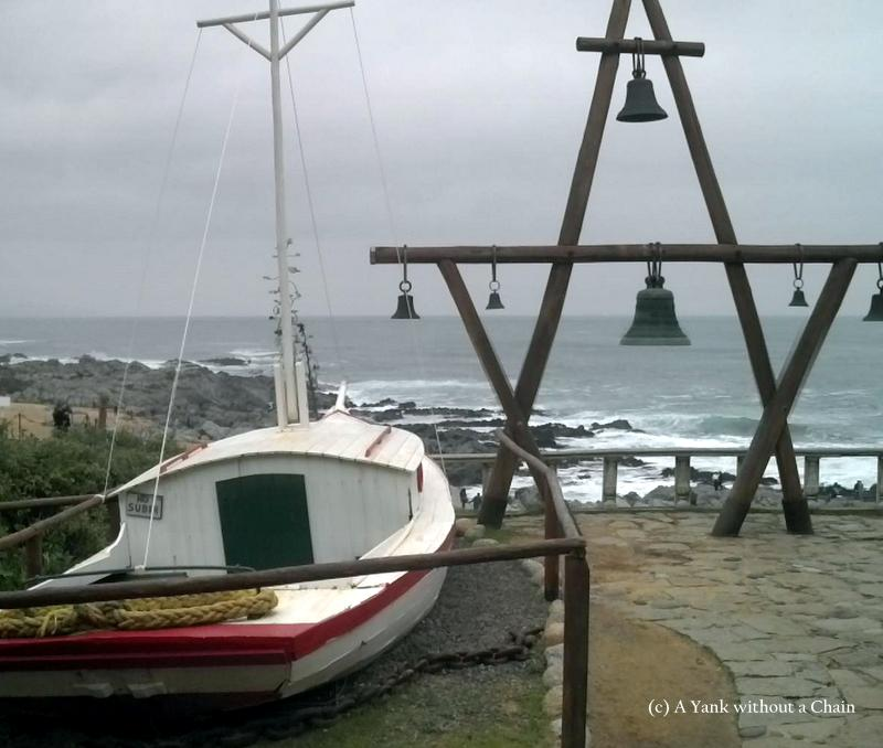 A ship and bells outside Neruda's Isla Negra home, indicative of his love of nautical life