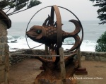A fish statue outside the Isla Negra home