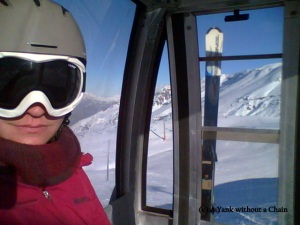 Riding in the gondola at Valle Nevado, the first in Chile