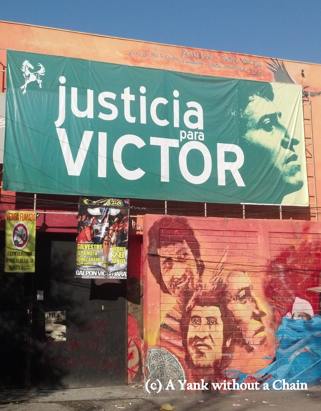 A nightclub with a memorial to Victor Jara, a folk singer assassinated by the Pinochet regime in 1973
