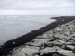 The small remnants of icebergs on the black sand makes a beautiful contrast