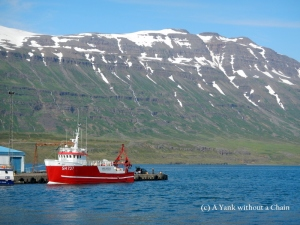 The port and mountain view at Seydisfjordur in eastern Iceland