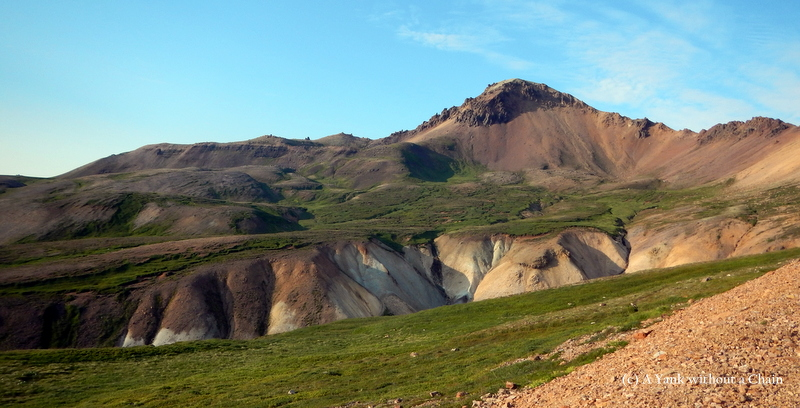 Colorful mountain formations near Brunavik