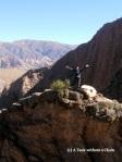 Standing on a rock ledge near the Garganta del Diablo in Tilcara