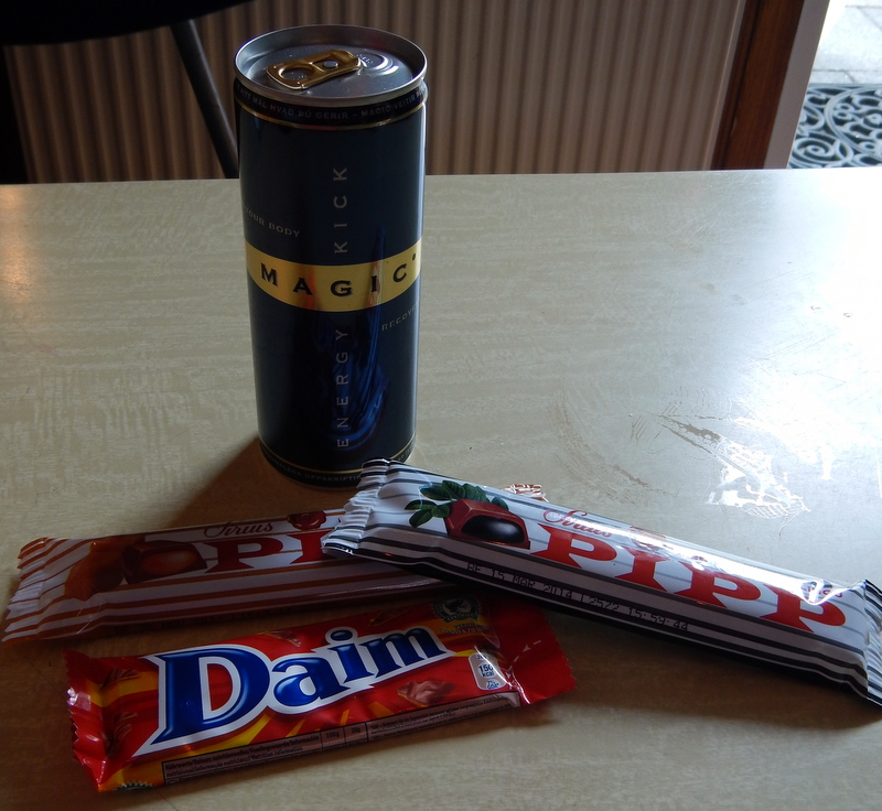 The Magic energy drink kept me awake during long night drives, while Pipp and Daim were lovely chocolate snacks