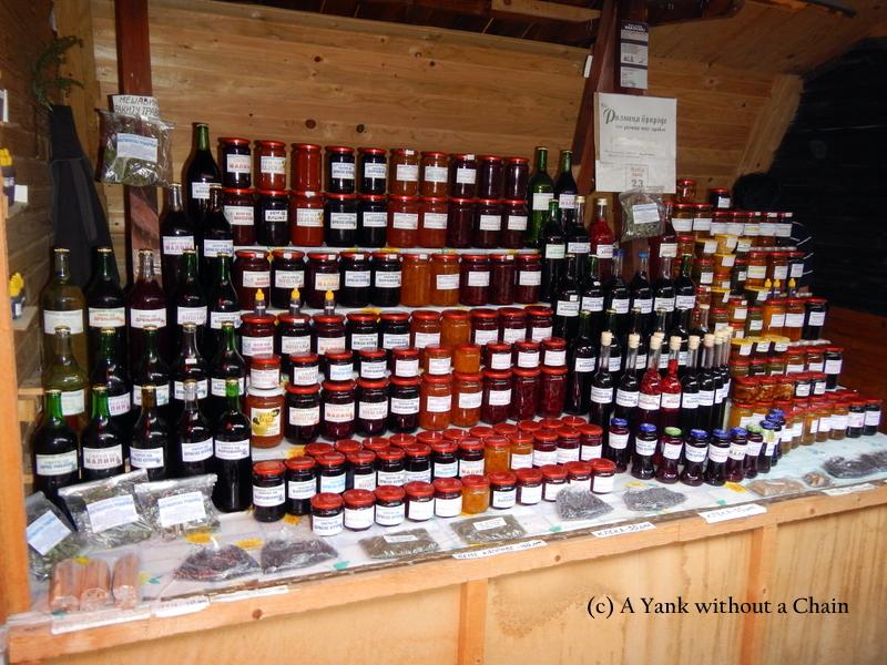 Rakija, jam and other fruit products at the Zlatibor market