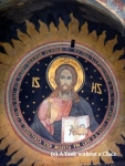 The painted ceiling of a convent in Bucharest