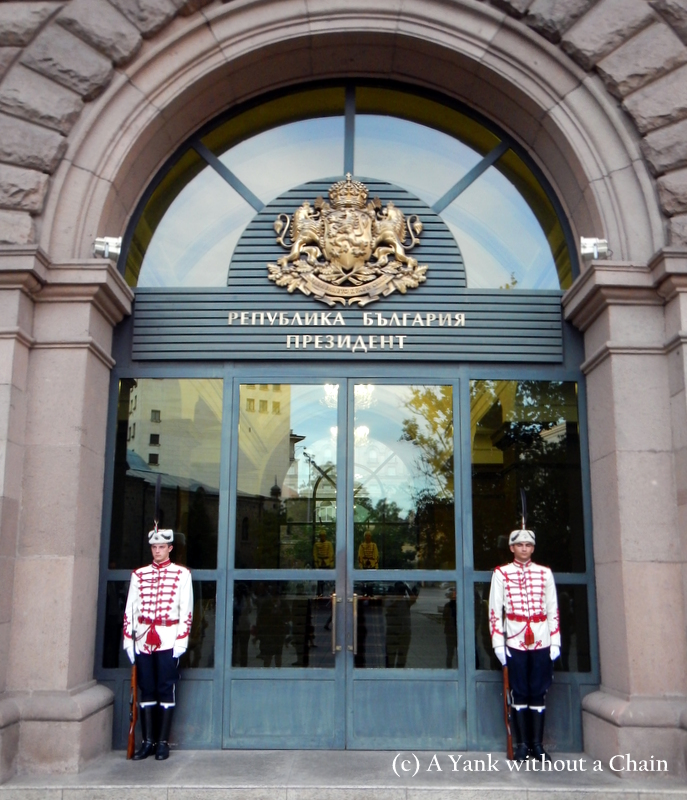 Guards at the Council of Ministers building in Sofia