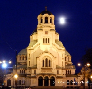The Alexander Nevsky Cathedral at night