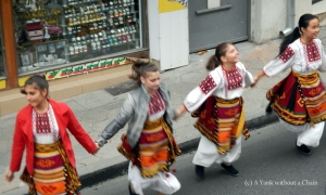 Dancers lined up for hundreds of meters to dance during Bulgaria's independence celebrations