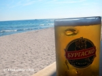 Enjoying a Bulgarian beer on the beach in Nessebar