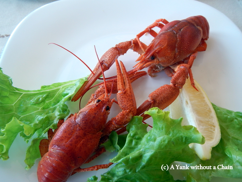 Dueling crayfish at Hemingway, a restaurant in Nessebar