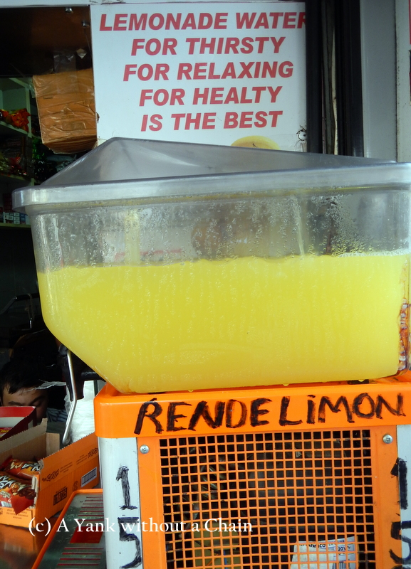 Delicious lemonade, with a cute Turkglish sign