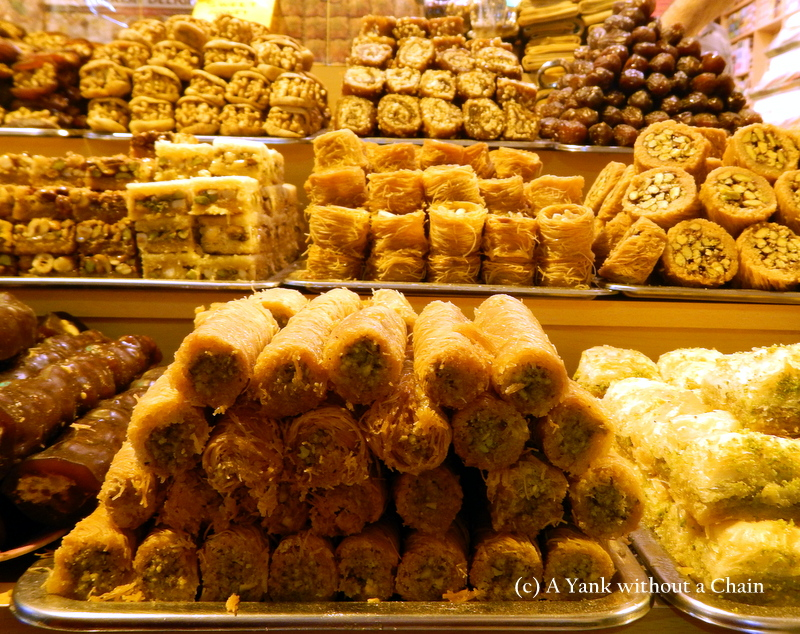 An array of desserts at the spice market in Istanbul