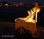 A cart with corn on the banks of the Bosphorus River