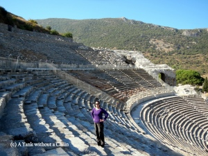 The Yank without a Chain standing in the theater at Ephesus
