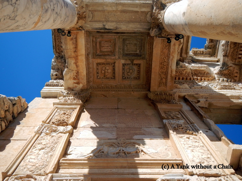 A detail of the ceiling and columns of the Library of Celsus