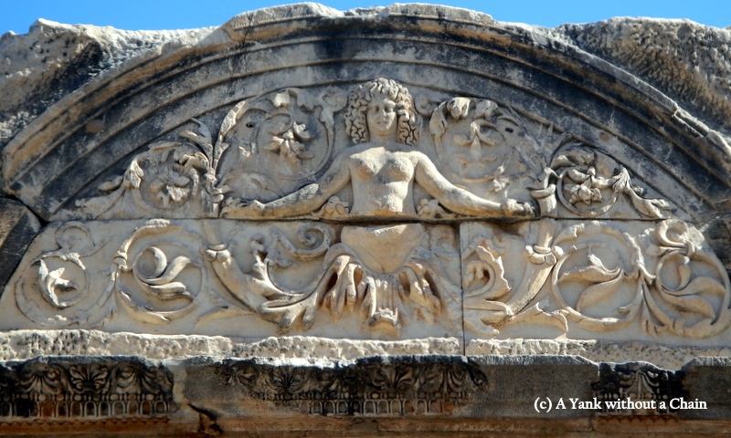 A detail of Medusa on the temple of Hadrian at Ephesus