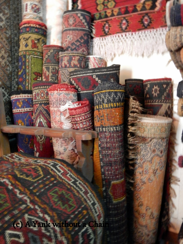 Mehmet's rugs rolled up in his shop