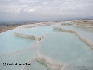 Travertine terraces at Pamukkale in Turkey
