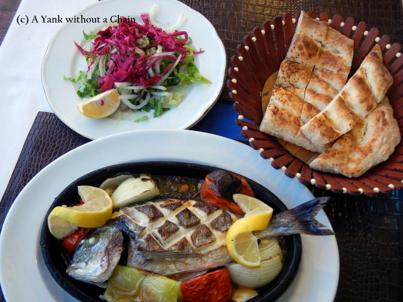 An amazing fish casserole at Deniz Restaurant in Kas