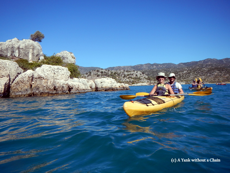 Some of my tour groupmates kayaking in Kas