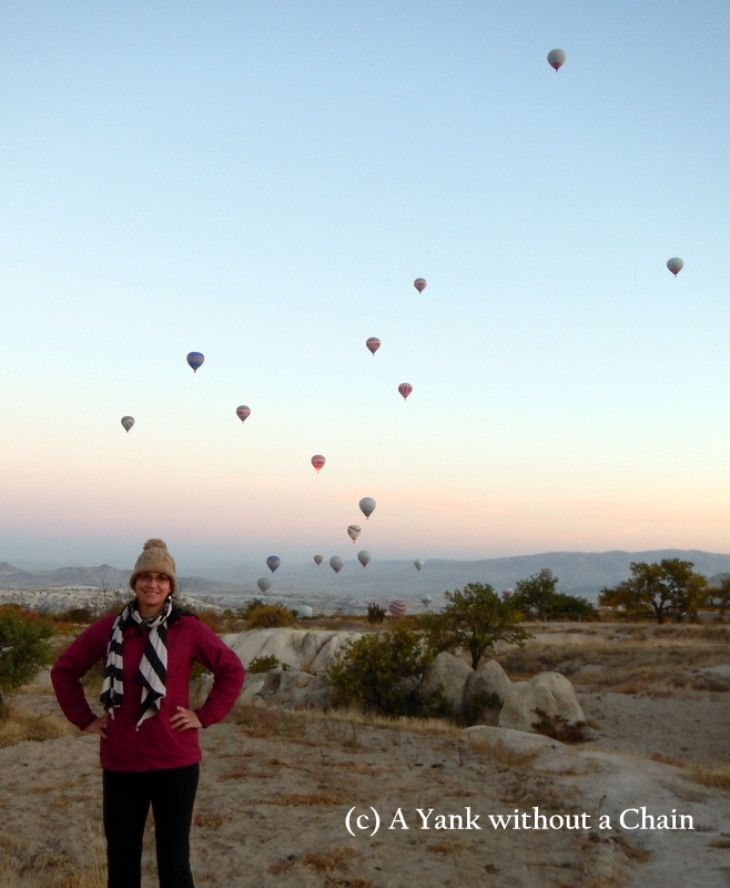 The balloons rise along with the sunset in Cappadocia