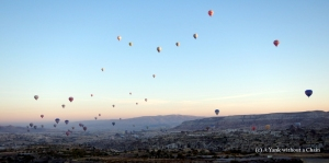 Watching the sunrise over Cappadocia from a hot air balloon!