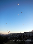 Dozens of hot air balloons punctuate the sky in Cappadocia!