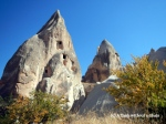 Some of the houses built into the rocks in Cappadocia
