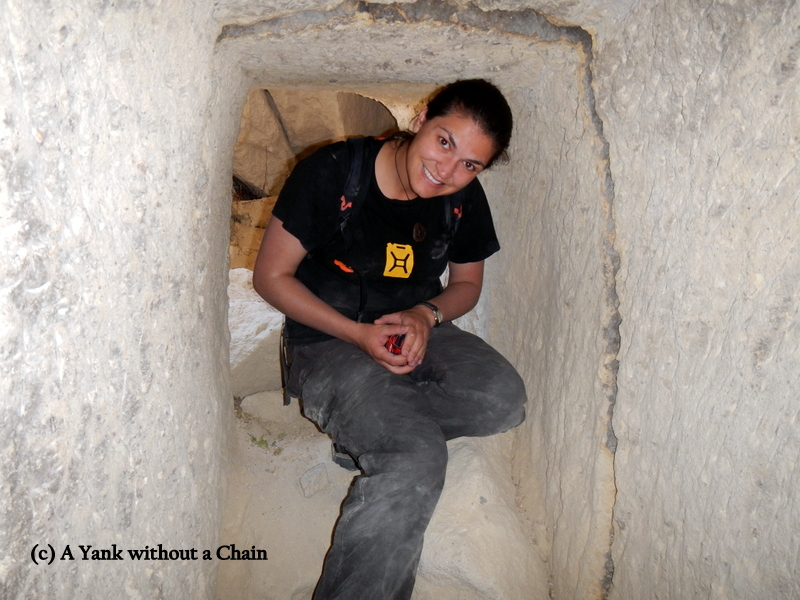 In the tunnel of the cave monastery
