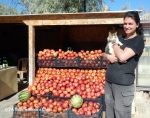 With Faruk's cat, Pammuk (Cotton) and his pomegranates