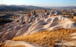 Smooth rocks in Cappadocia at sunset