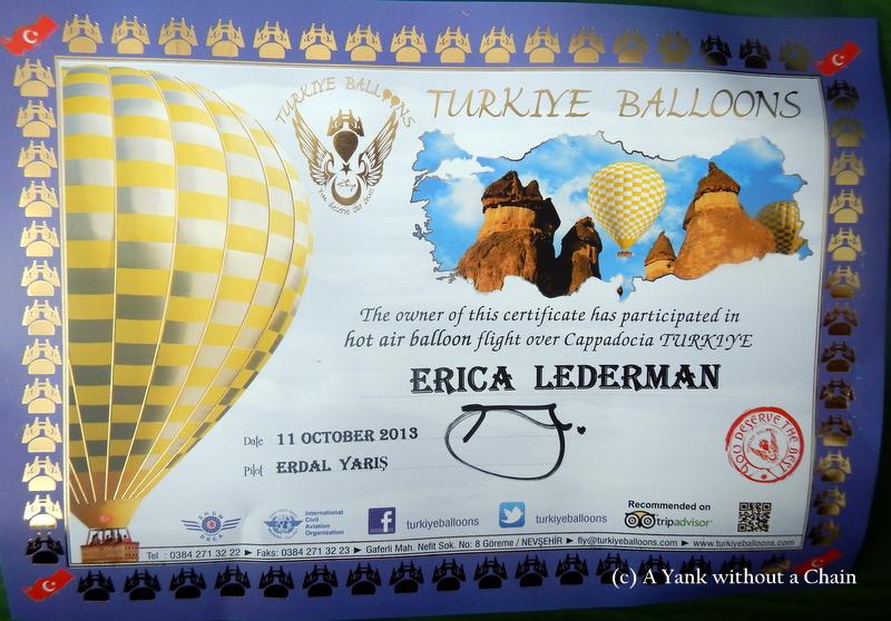 My Turkiye Balloons certificate!