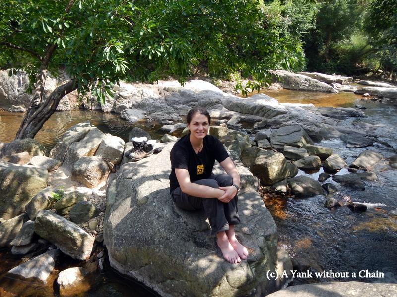 Sitting near the Mui Wo waterfalls