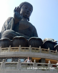 The Yank without a Chain posing in front of the Big Buddha in Hong Kong