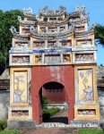 A colorful gate inside the imperial citadel in Hue