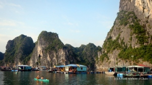 A floating fishing village at Ha Long Bay